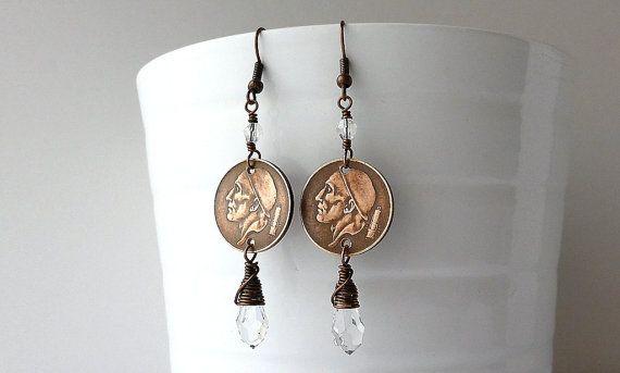 Coin earrings Belgian Swarovski earrings Coin by CoinStories