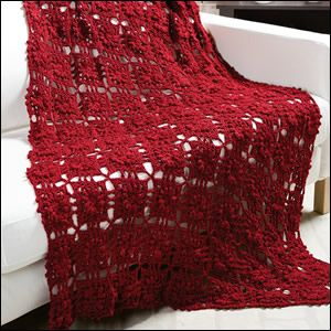 At Home -- Merlot Throw Design by Cindy Adams The name perfectly describes the warm, rich burgundy color of this beautiful lace throw that...