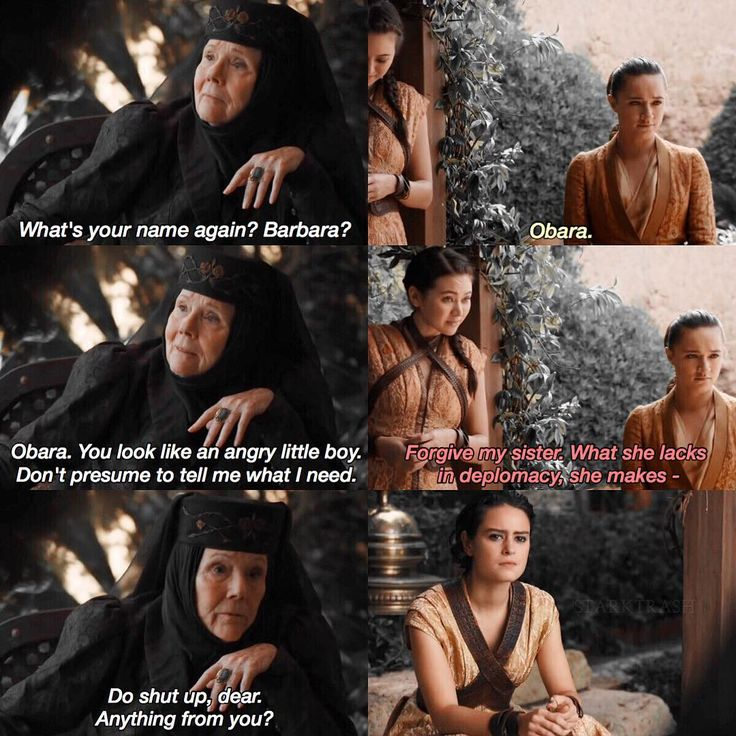 Lady Olenna putting the Sand snakes in their place. (6x10)