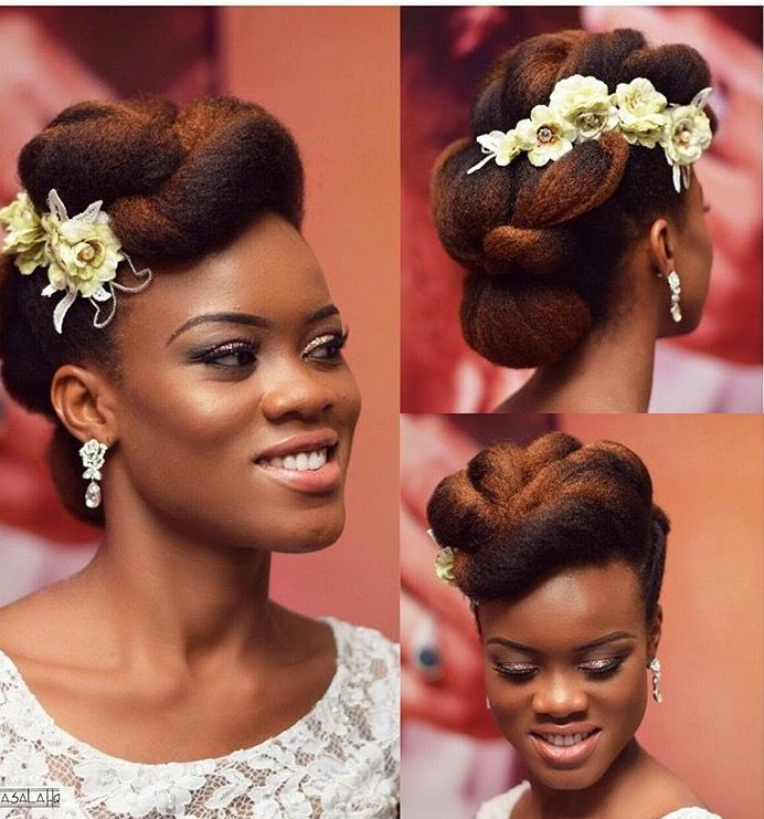 This Would Make The Perfect Wedding Hair Style Love The Asymmetrical Positioning Of The Flo Natural Hair Bride Natural Wedding Hairstyles Natural Hair Wedding