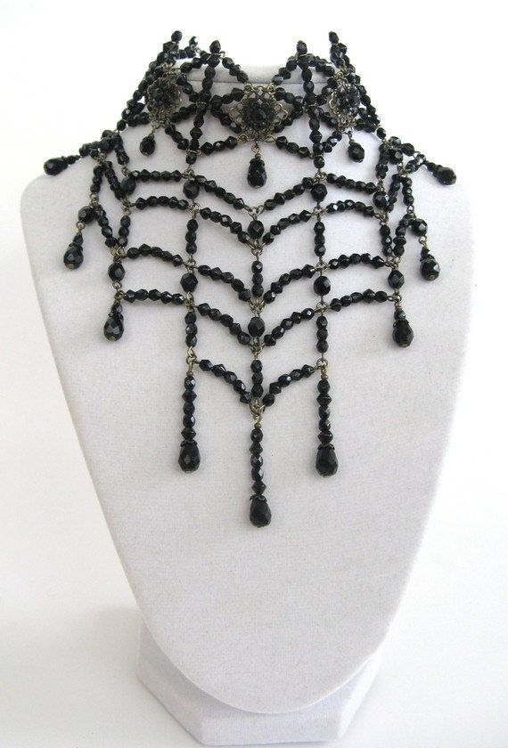 Black widow spider web choker necklace by DreadfulPleasures