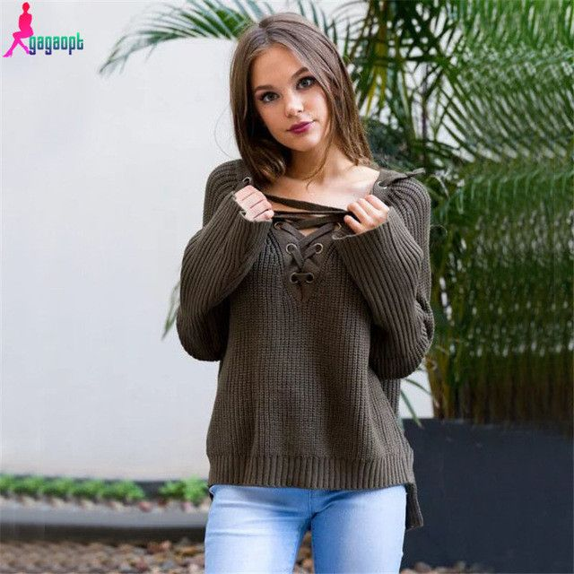 Gagaopt Knitted Sweater Sexy Lace Up Cross Women Casual Sweater Autumn Winter Knitted Plus Size Pullover Sweater