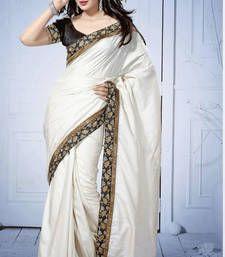Buy White Plain Banarasi saree with blouse banarasi-silk-saree online