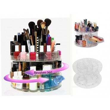 Makeup Organizer 360 Degree Rotating Clear Display