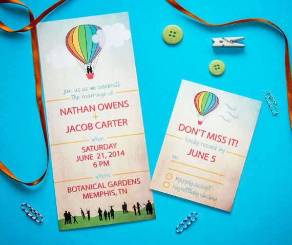 Same Sex Wedding Invitation and RSVP Card Custom by TwineAndTrue: