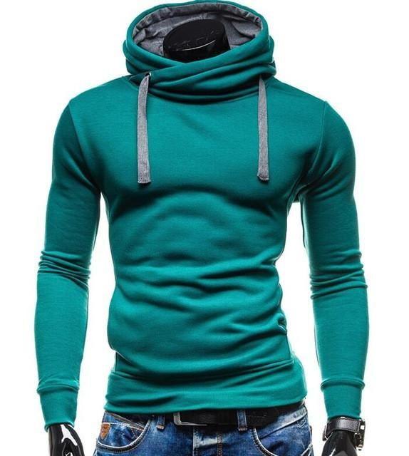 2017 Hoodies Men Sudaderas Hombre Hip Hop Mens Brand Solid Color Turtleneck  Pullover Hoodie Sweatshirt Slim