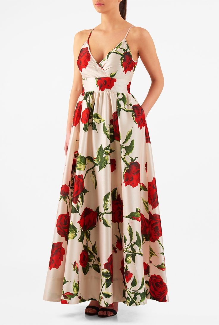 Plus Size Maxi | rose print with pockets