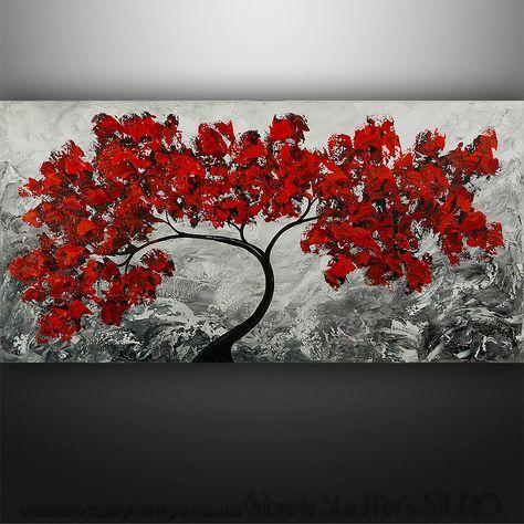 Abstrakte Malerei Acryl moderne Landschaft Baum Spachtel