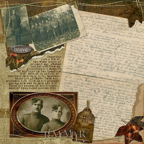 Ancestry Scrapbooking Layouts | ... HERITAGE LAYOUT***Letters from WW1 - Digital Scrapbook Place Gallery