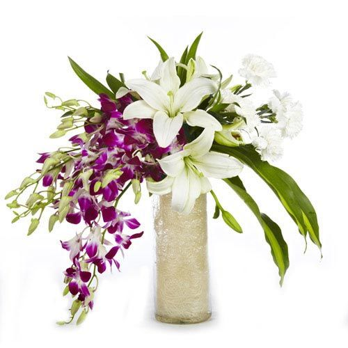 Best wishes are for the ceremonies like marriage, new born, house warming, etc. To give your best wishes to your dear ones, Ferns n Petals have created this glass vase arrangement of 6 orchids with 3 white lilies and 6 white carnations. http://www.fnp.com/flowers/royal-love/--clI_2-cI_1017-pI_34186.html
