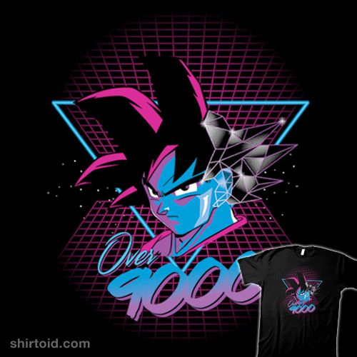 Over 9000 80's | Shirtoid #dragonball #dragonballz #foureyedesign #goku #saiyan #stuartdown #studown