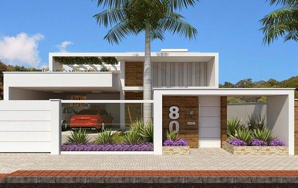20 Fachadas de casas modernas com muros e portões! Veja muito mais fotos, dicas e informações técnicas dessa garagem em Decor Salteado! É só clicar na imagem! ; - )