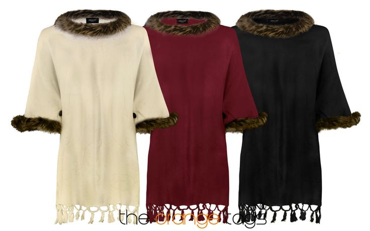 WOMENS FAUX FUR PONCHO LADIES CAPE WRAP COAT TRIM BUTTON SHAWL
