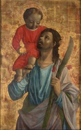 Vincenzo Foppa, Saint Christopher, about 1460. Tempera and oil paint on panel…