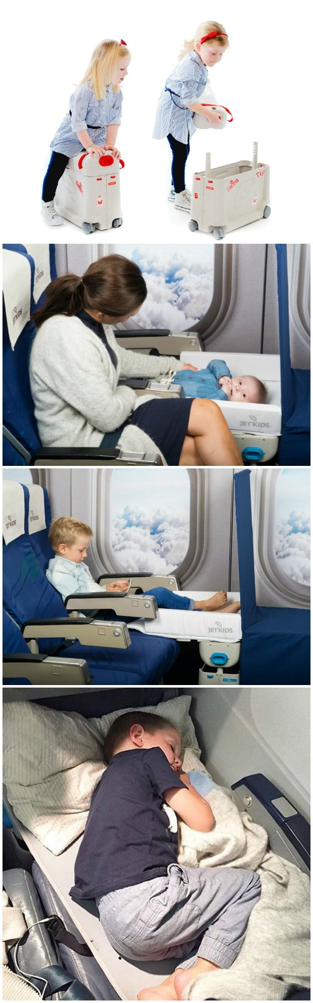 BedBox by JetKids. It is your child´s hand luggage, ride-on suitcase and inflight bed, in the very same box.