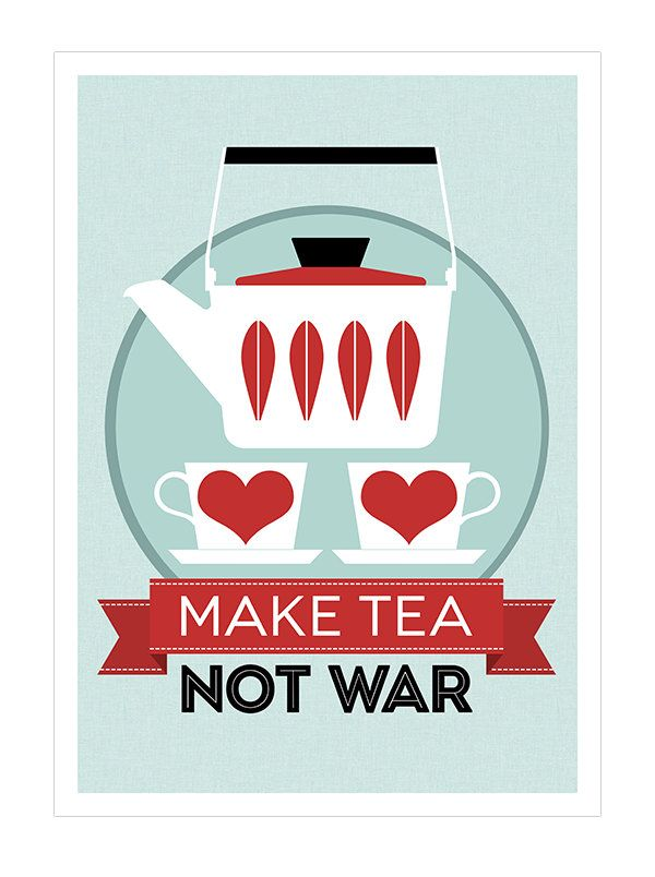 Catherineholm poster print - Make Tea Not War - 50 x 70 cm poster red Mid Century Modern retro kitchen tea. via Etsy.