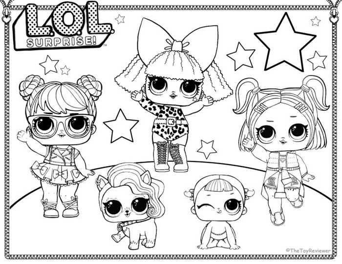 Printable LOL Doll Coloring Pages Party decor Barbie