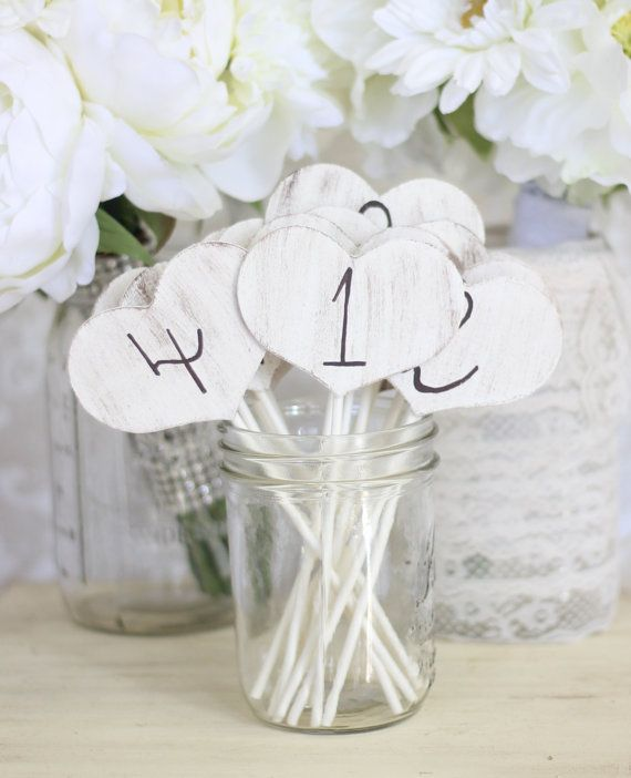 Shabby Chic Table Numbers Hearts On Sticks SET Of 15 (item P10224)
