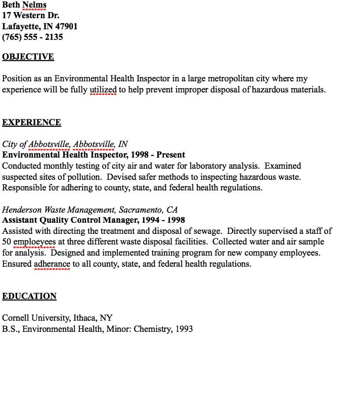 Example Of Environmental Health Inspector Resume Resumesdesign