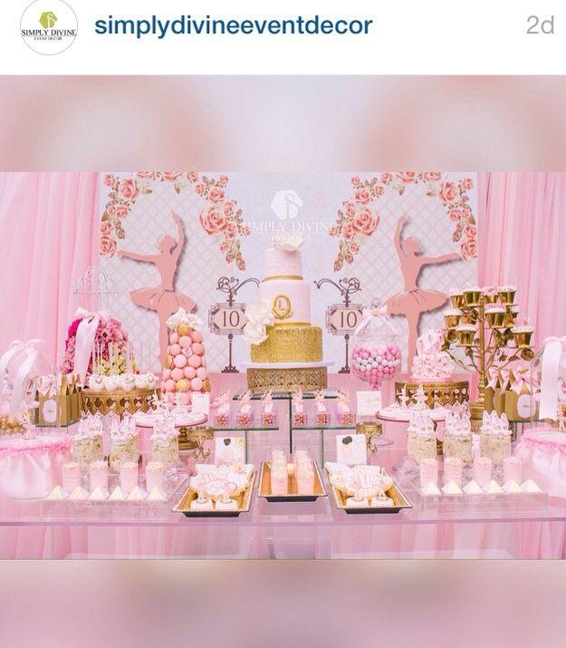 Ballerina princess sweet table set up