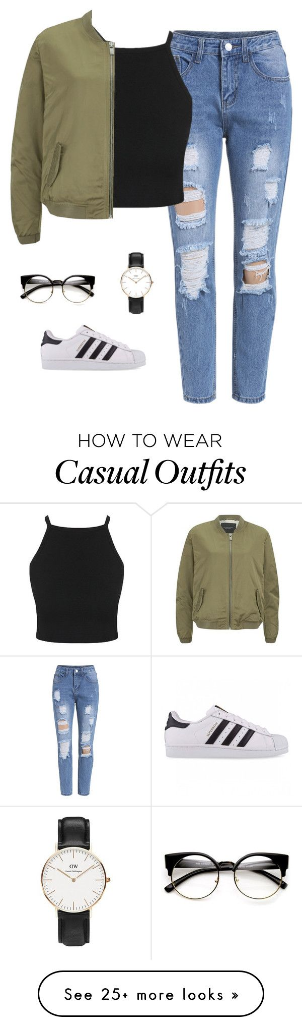 """""""casual."""" by sabajghafoor on Polyvore featuring adidas Originals, Maison Scotch and Daniel Wellington"""