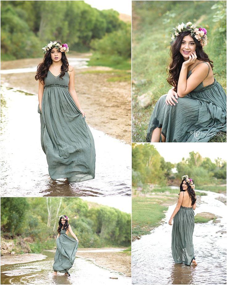 Arizona Senior Photographer. Flower Crown. Senior Girl dancing in water.
