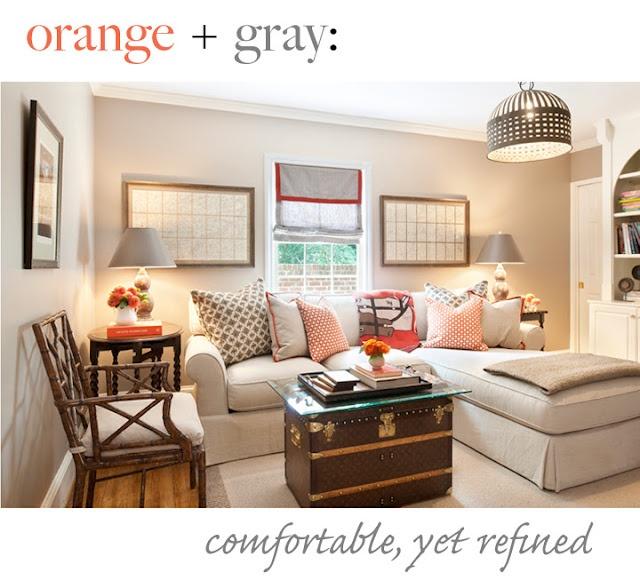 Living room orange and gray