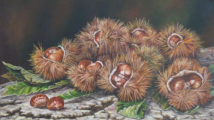 """""""Ricci e castagne"""" olio su tela (40 x 70)"""