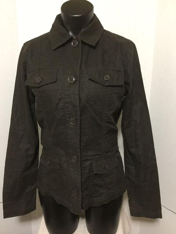 Eddie Bauer Womens Brown Boxy Blazer Linen Button Front Roll Up Sleeves Size S #EddieBauer #Blazer