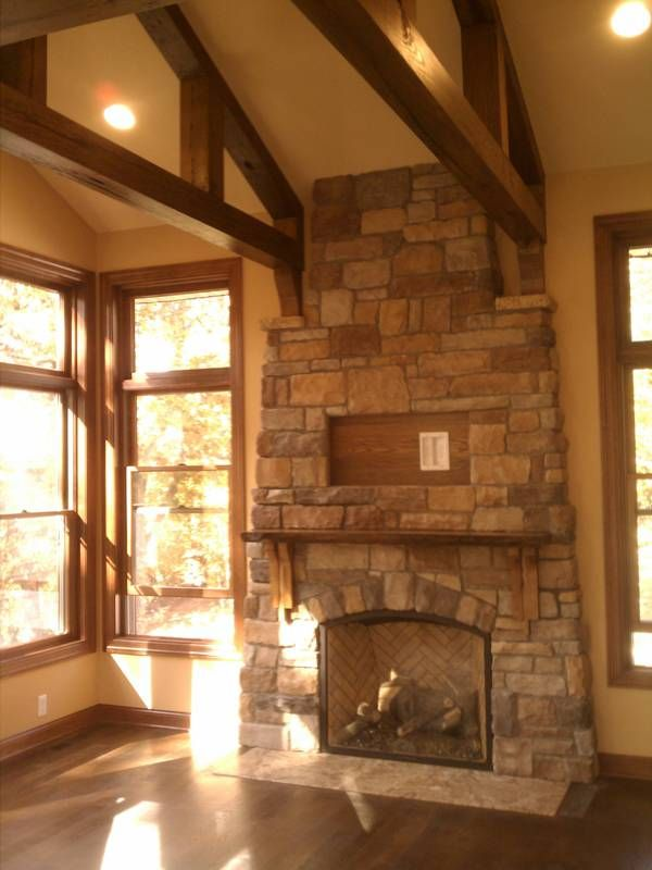 Reclaimed Wood Beams Vaulted Ceiling Great Room Meadow Creek