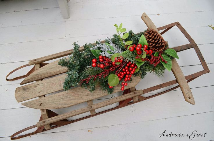 64 best images about vintage skis sleds snow shoes on for Antique sled christmas decoration