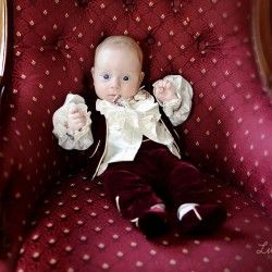 """Baby wearing the """"Hamlet"""" christening suit."""