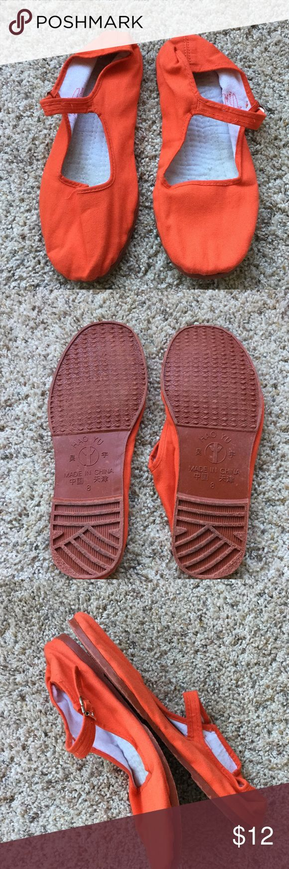 Hao Yu - Orange flats Hao Yu brand - color: dark orange - size: 8 - good condition! Fast shipping. Hao Yu Shoes Flats & Loafers