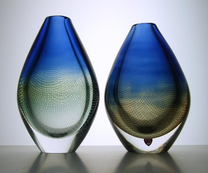 """""""Kraka"""" vases by Sven Palmqvist at Orrefors, Sweden."""
