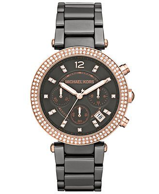 Michael Kors Watch, Women's Chronograph Parker Glitz Gunmetal-Tone Stainless Steel Bracelet 39mm MK5539 - A Macy's Exclusive