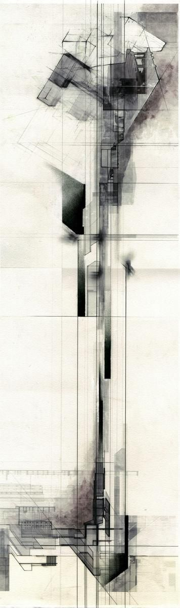 charcoal/watercolor...tight handling 'Vertical Datum' by Collin Cobia: