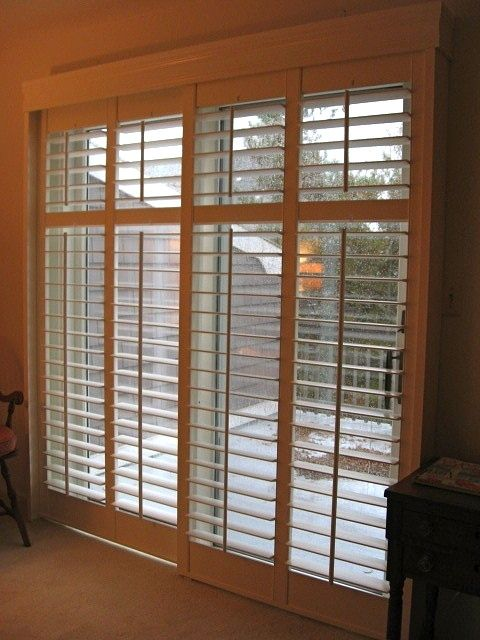 Plantation shutters on sliding doors dream home Plantation shutters for doors interior