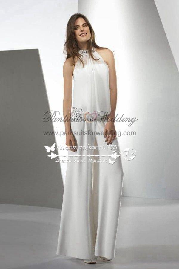 fae8631ff3fe Spring Ivory chiffon bridal jumpsuit with cape Beach wedding dress BA-050
