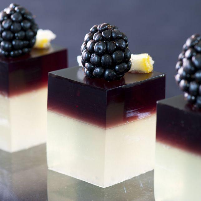Jello shots! The Bramble~ lemon sour base, gin, float of blackberry liqueur (source: Rock UR Party)