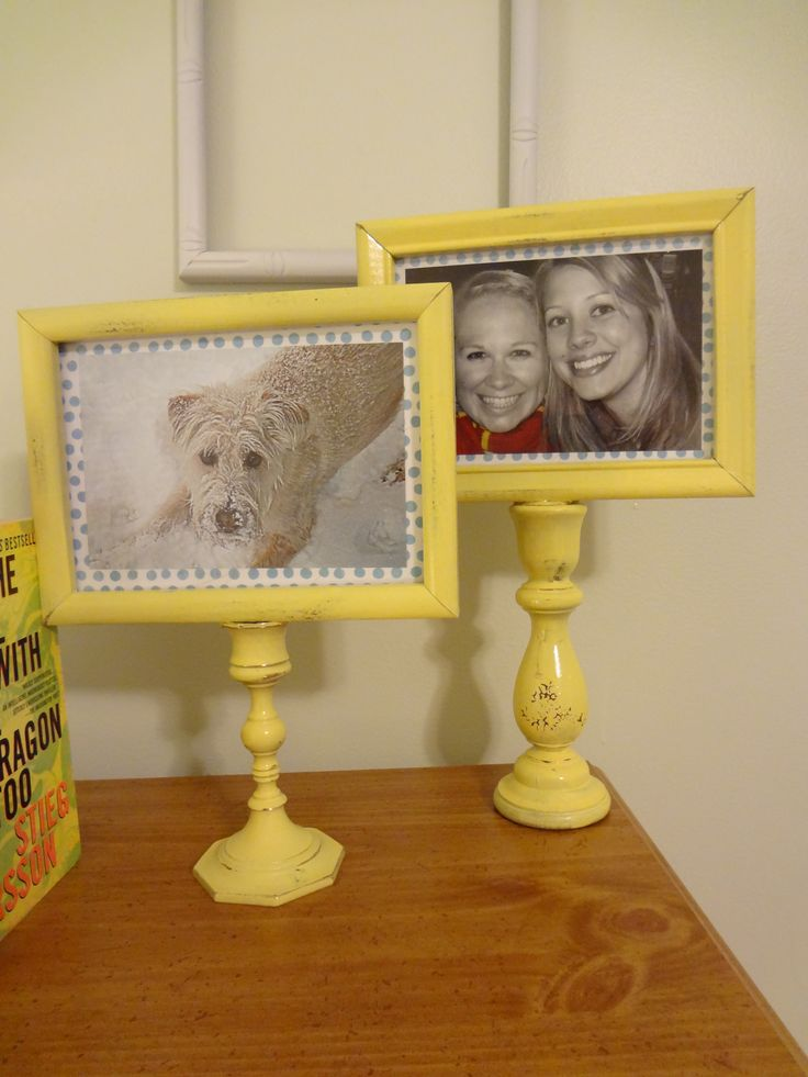 Picture frames with old candlesticks, spraypainted