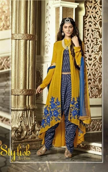 Picture of Dazzling Blue and Yellow Designer Salwar Kameez