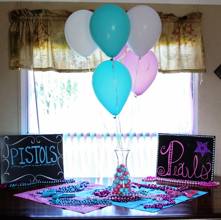 Pistols or Pearls? gender reveal. pink and blue. country.