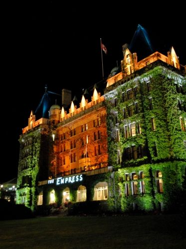 The Fairmont Empress all lit up at night