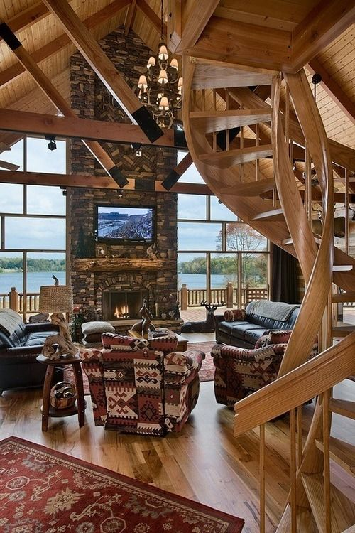 Best Spiral Staircase All Wooden Stone Fireplace To The 400 x 300