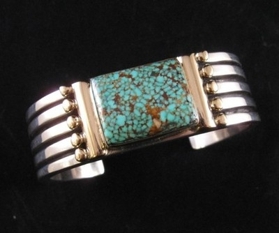 X Large Navajo Orville Tsinnie Kingman Turquoise Silver Bracelet w 14kt Gold | eBay  Check this one out..It doesn't get much better than this!Navajo Orville, Kingman Turquoise, Tsinni Navajo, Navajo Jewelry, Indian Jewelry, Silver Bracelets, Silver Jewelry, Turquoise Silver, Orville Tsinni