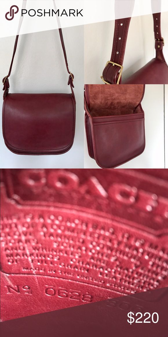 "Coach Stunning Rare Bright Burgundy Saddle Bag USA Excellent condition! The best Burgundy I've seen! One pocket under flap and a zip pocket inside. Measures 8.5x9 approx. I'm 5'3"" and can wear as a short cross body Coach Bags Shoulder Bags"