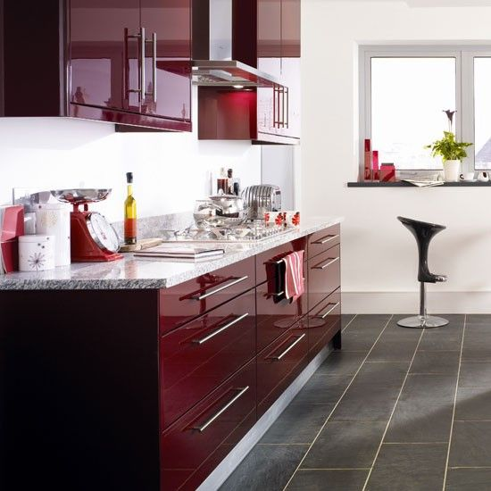 Burgundy kitchen | Kitchen colour schemes - 10 ideas | housetohome.co.uk