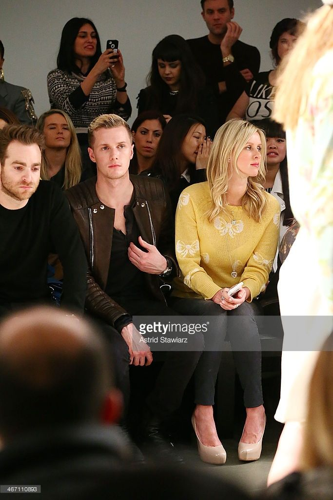 Barron Hilton and <a gi-track='captionPersonalityLinkClicked' href=/galleries/search?phrase=Nicky+Hilton+-+Born+1983&family=editorial&specificpeople=11520989 ng-click='$event.stopPropagation()'>Nicky Hilton</a> sit front row to watch Wildfox fashion show during Mercedes-Benz Fashion Week Fall 2014 at Pier 59 on February 5, 2014 in New York City.