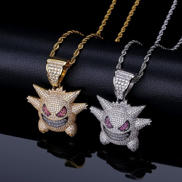 1c44df0be1d45 TOPGRILLZ Personalized Gengar Pendant Necklace Men With Tennis Chain ...