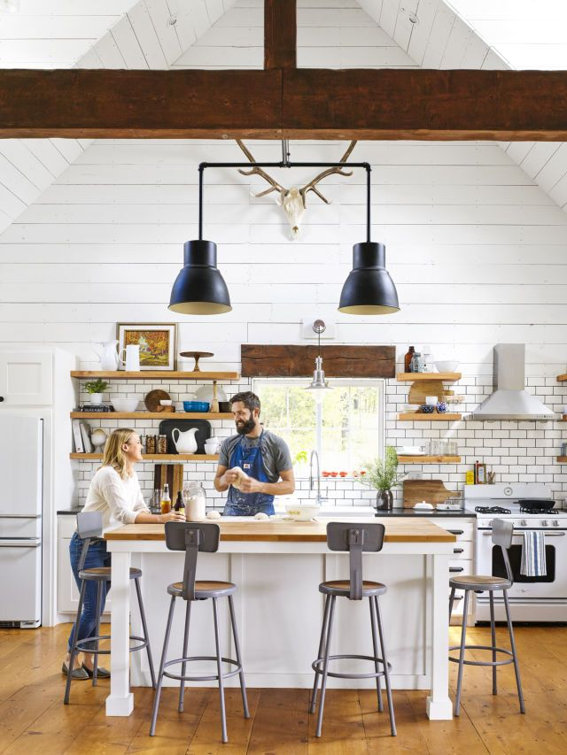 Josh McCullock crafted the kitchen lighting by taking apart Ikea pendant lights and rewiring them with gas pipe.